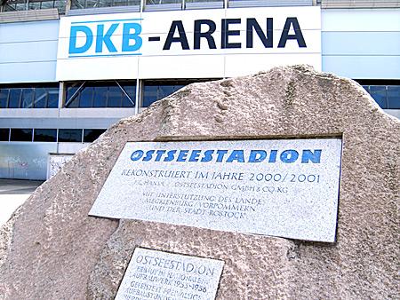 Auf diesem Bild sieht man das Ostseestadion, Sitz von Hansa Rostock