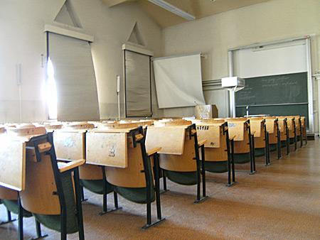 Auf diesem Bild sieht man einen Hörsaal in der Uni Rostock